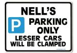 NELL'S Personalised Parking Sign Gift | Unique Car Present for Her |  Size Large - Metal faced